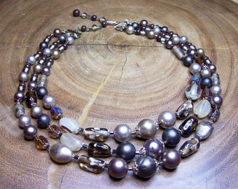 Vintage Brown Champagne Faux  Pearl & Glass 3 Strand Necklace Signed Japan