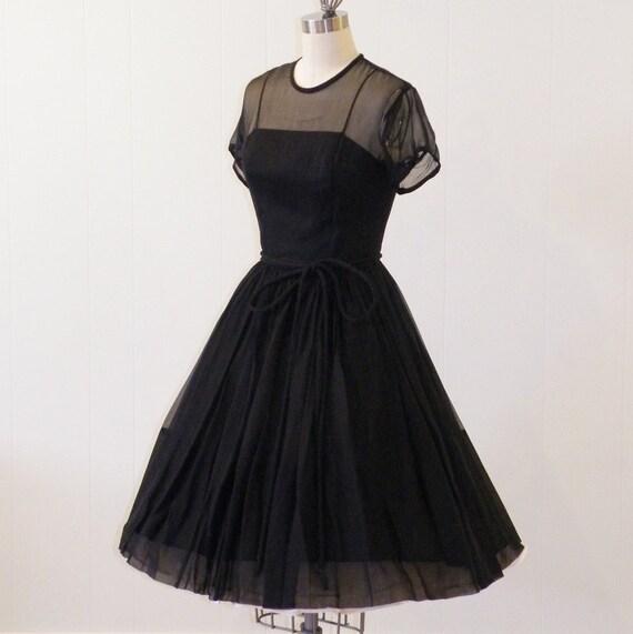 50s Dress / 1950s L'Aiglon Dress, Vintage Black Silk Chiffon Illusion Formal Cocktail Wedding Party Dress, Full Skirted Little Black Dress
