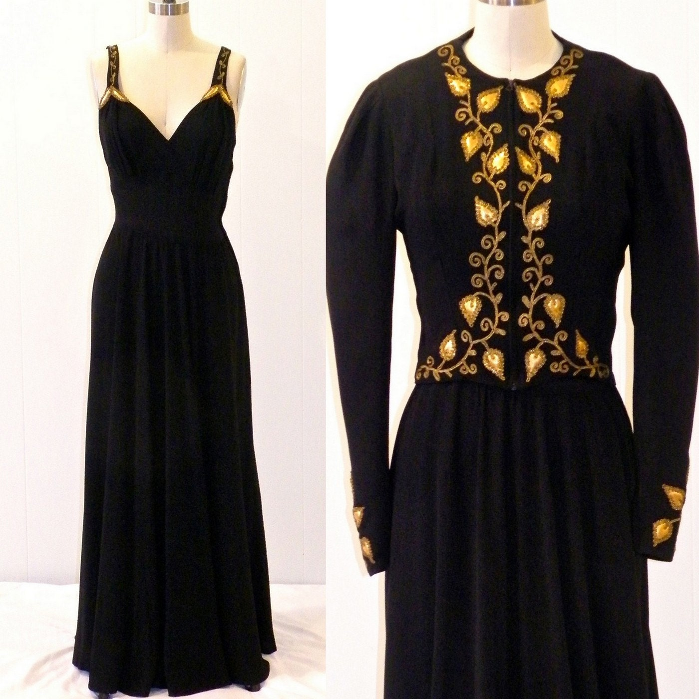 1930s Evening Dress & Jacket 30s Art Deco Gown By