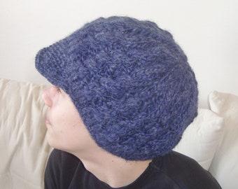 Blue knit hat blue hat cap hand knit hat for mens or womens cap hat