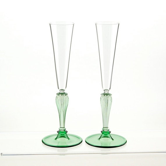Items similar to champagne toasting flutes green hand blown glasses on etsy - Hand blown champagne flutes ...