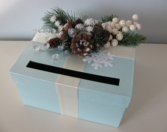 Card Box Winter Wonderland Wedding, Icy Blue with Pinecones, Snowflakes, Boughs, Crystal Sprays You Customize