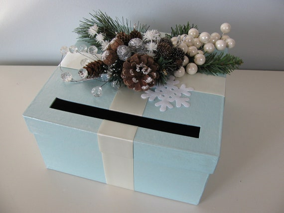 Items Similar To Card Box Winter Wonderland Wedding Icy Blue With Pinecones Snowflakes Boughs