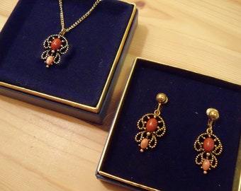 SALE - 1974 Avon Set: Castillian Clip Earrings AND Necklace (Simulated Coral)