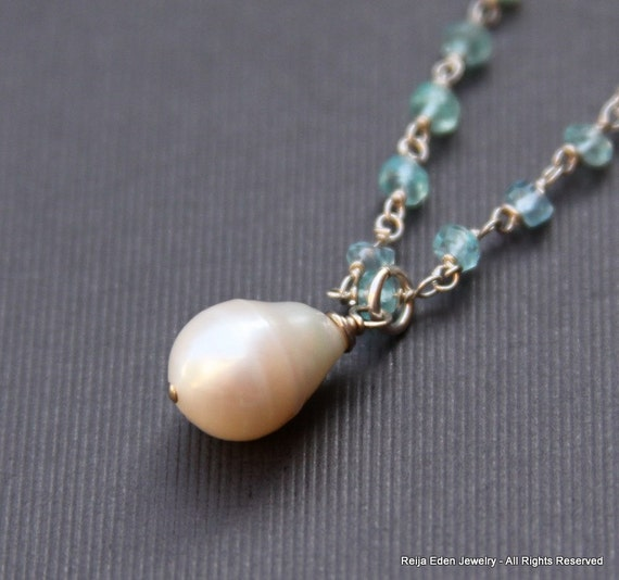 White Freshwater Pearl Necklace, Apatite Gemstones, Sterling Silver, Wire wrapped Jewelry