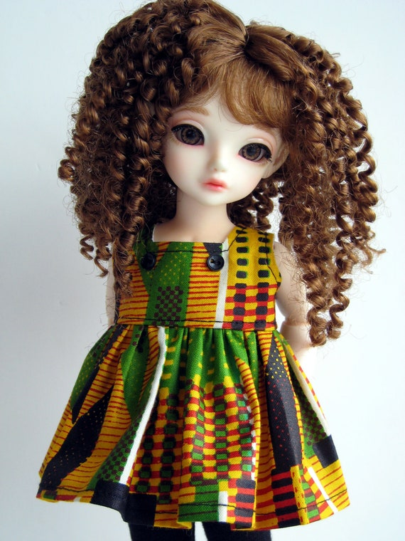 Orange Stripes African Print Top Black Leggings Short Pants for Tiny bjd Littlefee Peaks Woods Crobidoll Red Yellow White Green Shirt