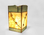 RESERVED for marialazowski - Stained Glass Lamp Blue Beige Gold Column - Moonscape - Handmade OOAK