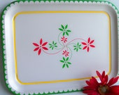 Two Retro Green Yellow and Red Tin Trays