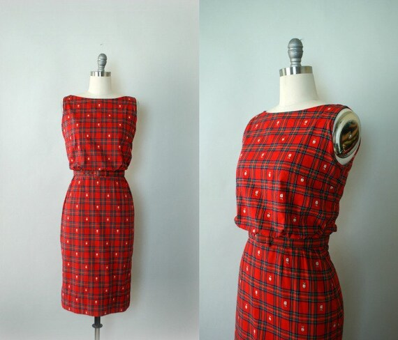 RESERVED LISTING -- Vintage 1960s Lanz Day Dress - Red Cotton Apple Print Plaid Wiggle Dress