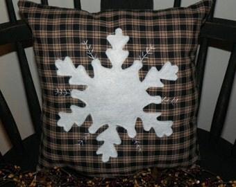 UNSTUFFED Primitive Snowflake Pillow Prim Country Stitchery Home House Decor Winter Decoration Snow Folk Art Handmade Stitched wvluckygirl