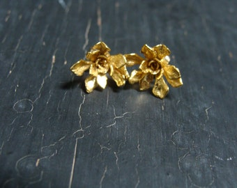 18K Gold Vermeil Tiny Stonecrop Rosette Posts -- Botanical Jewelry -- Nature Cast -- Ready to Ship