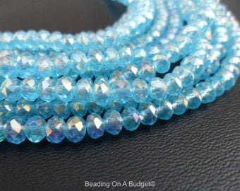 Tiaria Crystal Aqua Blue AB Faceted Rondelle Beads 4x3mm