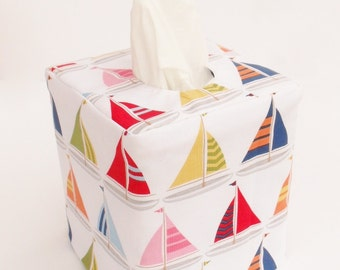 Sailboat reversible tissue box cover