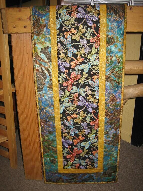 Dragonfly Quilted Table Runner Jewel Tones & Caribbean Batik