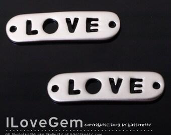 SALE/ 10pcs / NP-1295 Matt Rhodium plated, Love, Rectangle, pendant