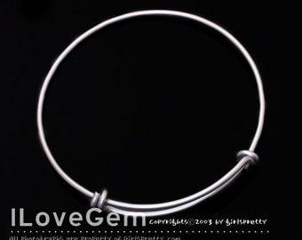 SALE / 5pcs / NP-1284 Matt Rhodium, Simple Plain, Bracelet, Wire Bangle, Adjustable bangles, Personalized bangle, Expandable Bracelet