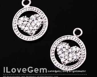 NP-1323 Rhodium plated, Heart, CZ, pendant, 1pc