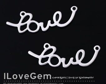 WSALE / 10 pcs /  NP-1384 Matt Rhodium plated, Love, Pendant