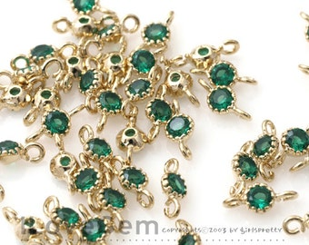 NP-1484 Gold plated, 3.5mm CZ, Connector, Birth Stone, Emerald, 2pcs