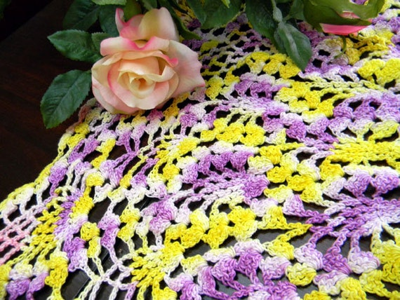 Table Topper - Small Tablecloth or Crocheted Centerpiece 7855