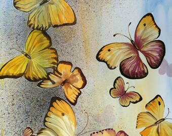 Original watercolor, butterflies