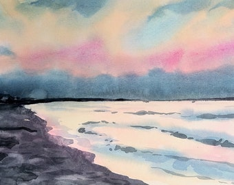 Original watercolor, Texas Gulf Coast sunset