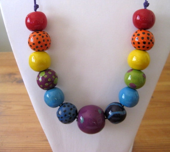 Beaded Necklace, Statement Necklace, Kazuri Bead Necklace, Fair Trade, Rainbow Colors