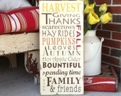 Autumn Harvest Typography Word Art Plaque - Perfect for Decorating for Fall and Thanksgiving