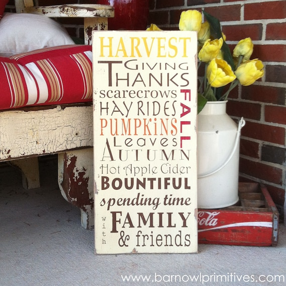 Autumn Harvest Typography Wood Sign - Perfect for Decorating for Fall and Thanksgiving
