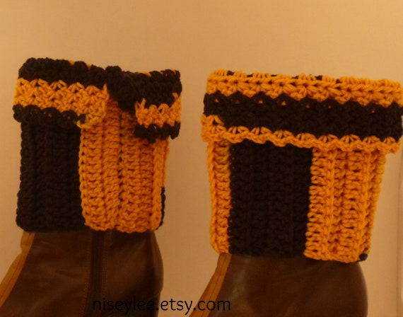 Crocheted Black And Gold Steelers Crochet Boot Cuffs  Gift Under  20 dollars