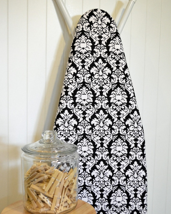 Ironing Board Cover - Michael Miller Damask in Black