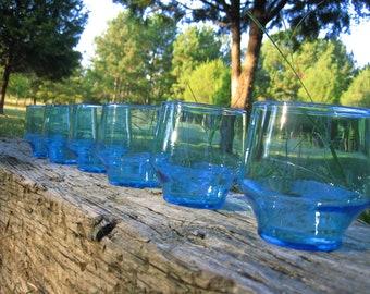 Vintage Aqua Blue Juice Glasses - set of 6