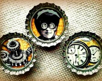 CLEARANCE Steampunk Trio Gears Goggles and Time Bottle Cap Magnet Set of Three
