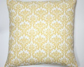 Decorative Throw Pillow Cover 18 x 18 Inch -  Yellow Madison Damask on White - Invisible Zipper Closure - Fabric on Both Sides