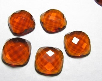 18 mm Cushion Chekar Cut Cabochon - Gorgeous golden-maderia - QUARTZ - super Super Sparkle  5 pcs