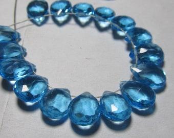 20 Pair 0f Earring 7x10 mm - Gorgeous Swiss Blue Colour - QUARTZ Faceted Pear Briolett super sparkle total 40 pcs