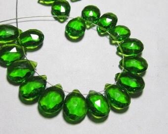 20 Pair 0f Earring 7x10 mm - Gorgeous Dark Green Colour - QUARTZ Faceted Pear Briolett super sparkle total 40 pcs