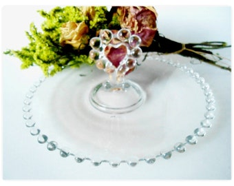 "Imperial Candlewick 8-1/2"" Heart Handle Mint Tray Vintage Elegant Glass 1943-67"