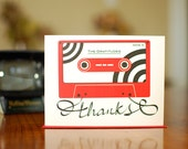 Red Tape Retro Cassette Thank You Cards - Set of 10 on 100% Recycled Paper
