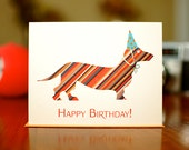 Candy Striped Doxie in Party Hat Happy Birthday Card