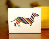 Striped Dachshund with Fire Hydrant Blank Card (100% Recycled Paper)
