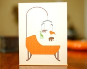 Orange Bassinet with Zoo Animal Mobile - New Baby Congratulations Card on 100% Recycled Paper