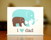 I Heart Dad New Baby Card - Aqua Blue & Grey Elephants on 100% Recycled Paper