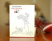 SALE - Color By Number Scandinavian Reindeer - Fun DIY Christmas Cards on 100% Recycled Paper
