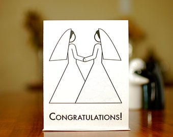 Two Brides - Lesbian Wedding Congratulations Card on 100% Recycled Paper :-)