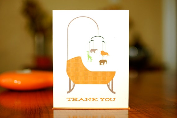 Orange Bassinet Baby Shower Thank You Cards - Set of 10 on 100% Recycled Paper