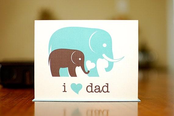 I Heart Dad New Baby Card - Aqua Blue & Grey Elephants on 100% Recycled Paper