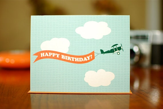 Banner Birthday Card - Biplane with Tangerine Banner on 100% Recycled Paper