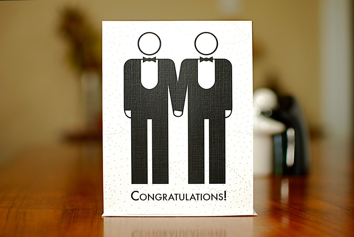 two grooms gay marriage congratulations card on 100% recycled 128270zoom