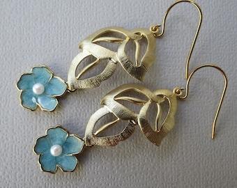 CALAIS - Gold Filigree Leaf  Earrings -  Sky Blue Sakura Flowers - feminine dangles, flower earrings -  chandelier style, matte gold finish